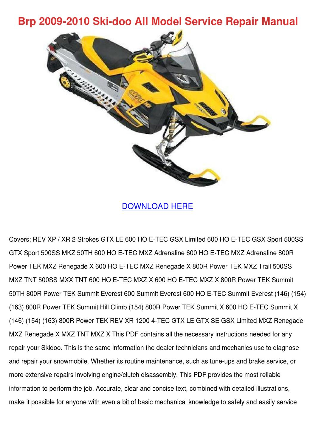 brp 2009 2010 ski doo all model service repai by juanitaharding issuu rh issuu com brp commander service manual brp rally 200 service manual