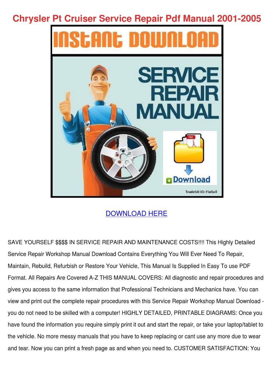 Chrysler Pt Cruiser Service Repair Pdf Manual By