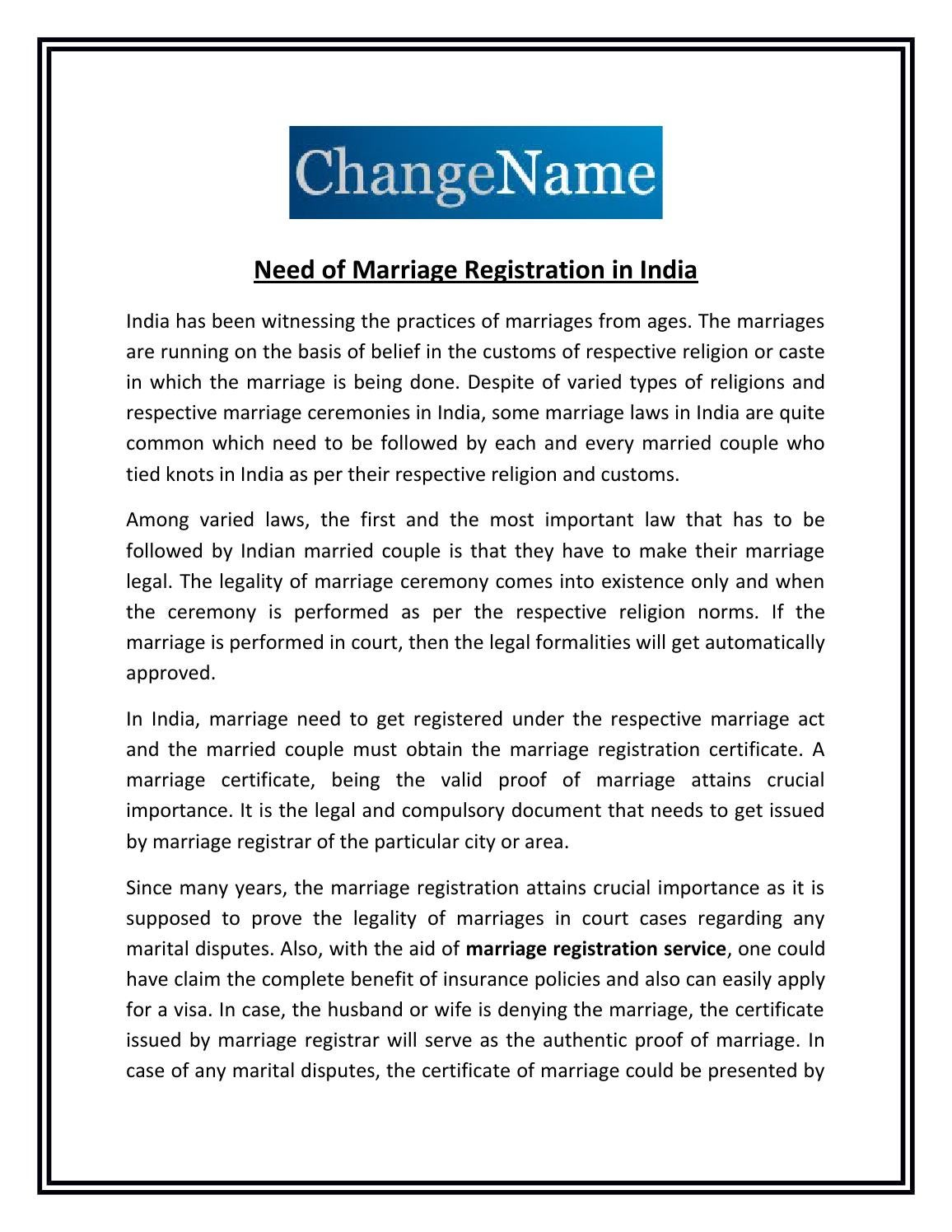 Need Of Marriage Registration In India By Aman Jolly Issuu