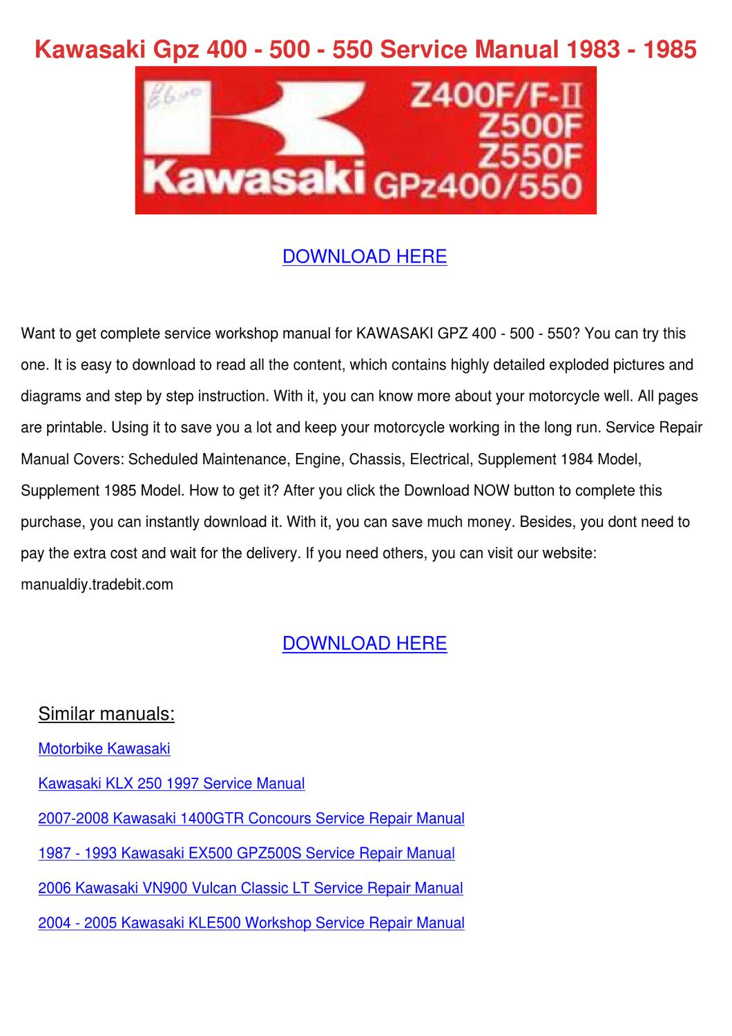 kawasaki gpz 400 500 550 service manual 1983 by