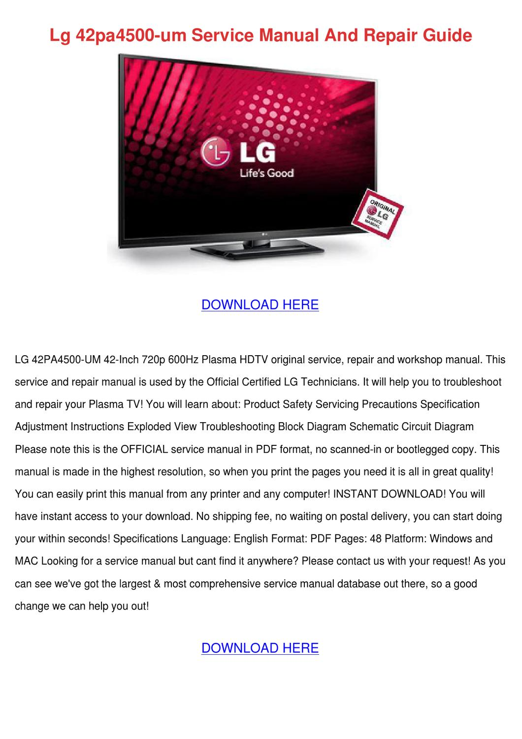 Lg 42pa4500 Um Service Manual And Repair Guid by MistyMcneill - issuu