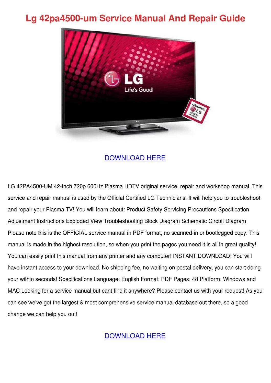 ... Array - lg 42pa4500 um service manual and repair guid by mistymcneill  issuu rh issuu ...