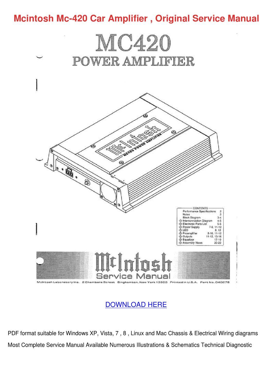 Mcintosh Mc 420 Car Amplifier Original Servic By Benyu