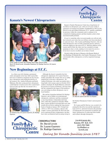 Kanatas Newest Chiropractors Family Chiropractic Centre Has A Long History Of Excellence In Care With Over 25 Years Worth