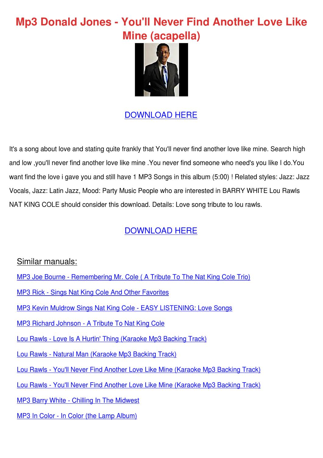 Mp3 Donald Jones Youll Never Find Another Lov by HershelFay - issuu