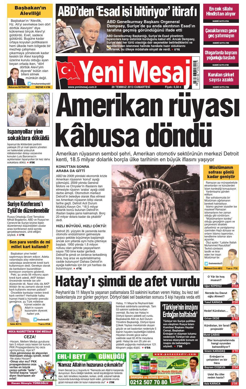 Yeni Mesaj Gazetesi Avrupa 20 Temmuz 2013 By T C Ali Asa Issuu