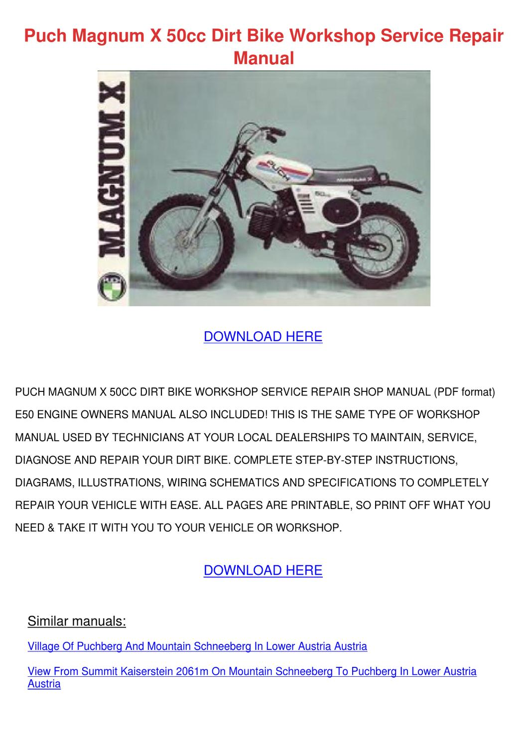 Puch Magnum X 50cc Dirt Bike Workshop Service By