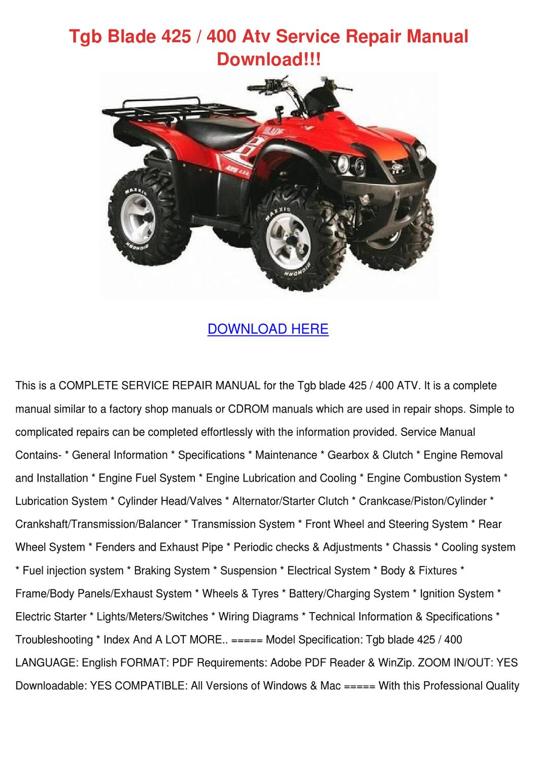 Tgb Blade 425 400 Atv Service Repair Manual D By Gloriadevlin
