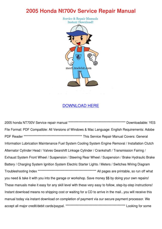 2005 Honda Nt700v Service Repair Manual By