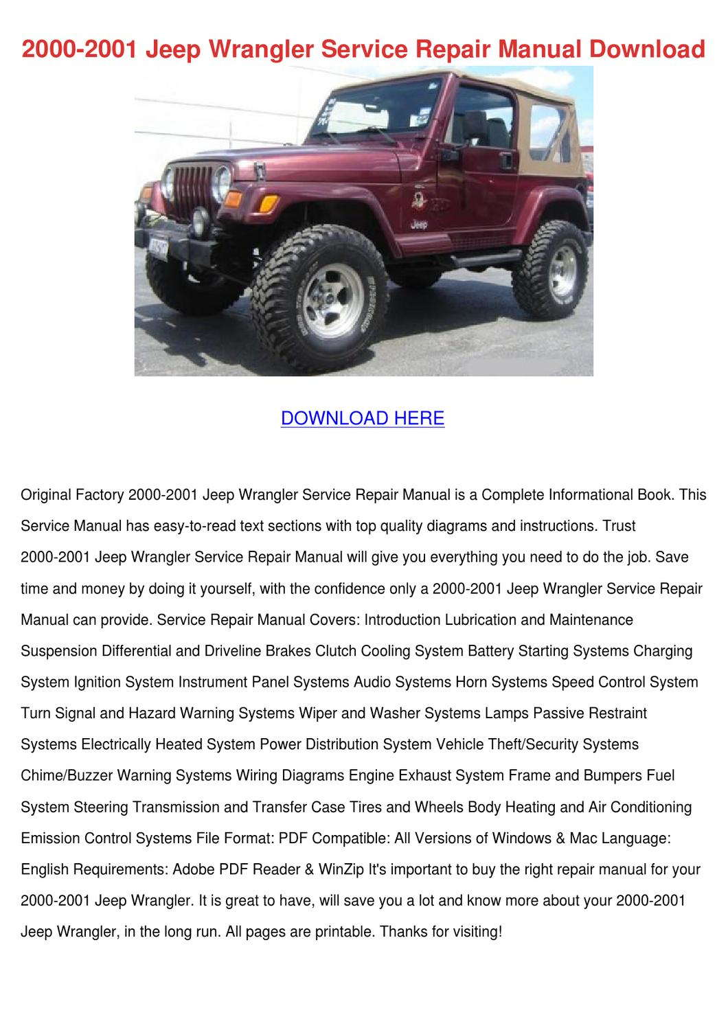 2000 2001 jeep wrangler service repair manual by. Black Bedroom Furniture Sets. Home Design Ideas