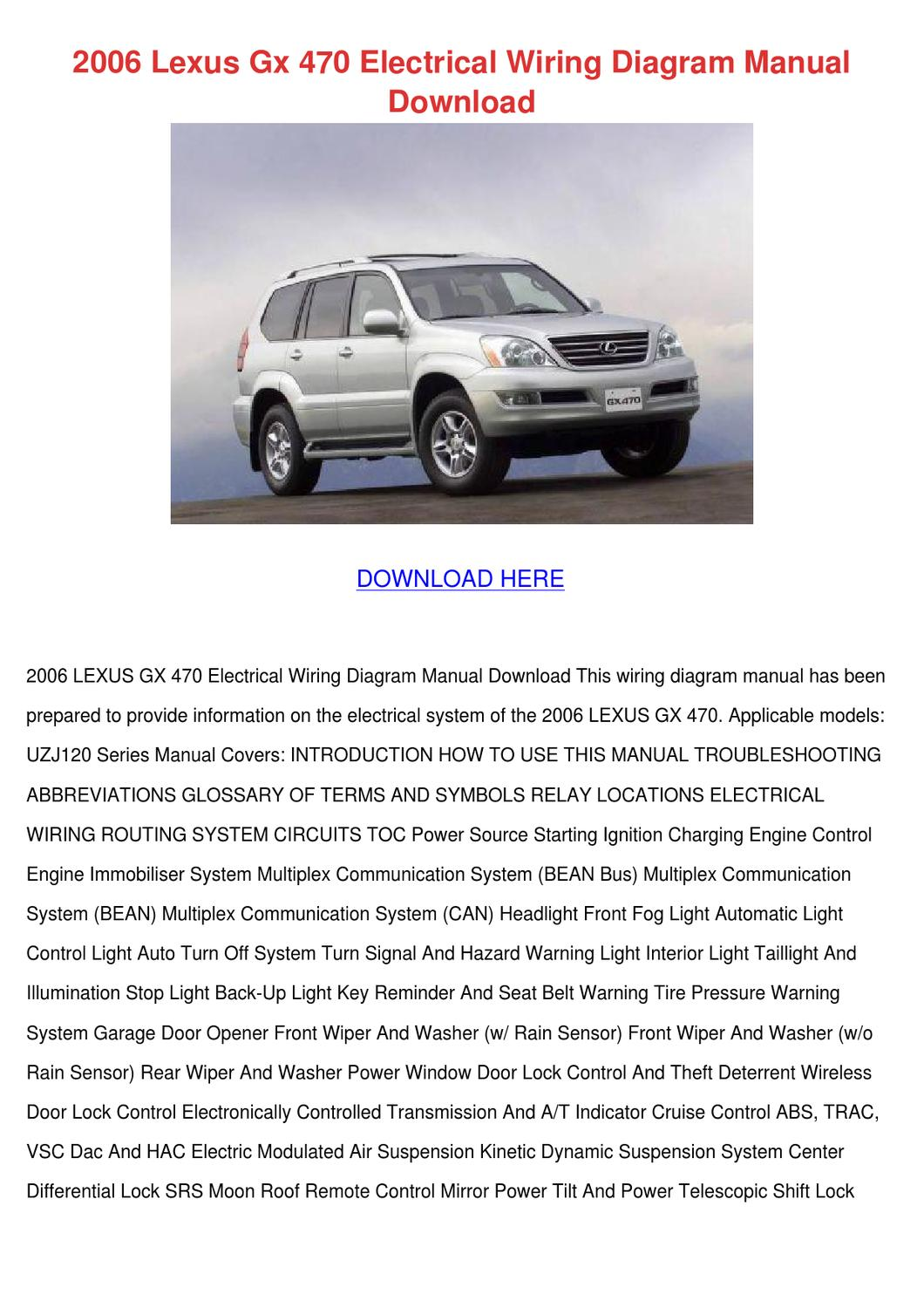 [SCHEMATICS_4LK]  2006 Lexus Gx 470 Electrical Wiring Diagram M by MeaganJewett - issuu | Lexus Lx 470 Wiring Diagram |  | Issuu