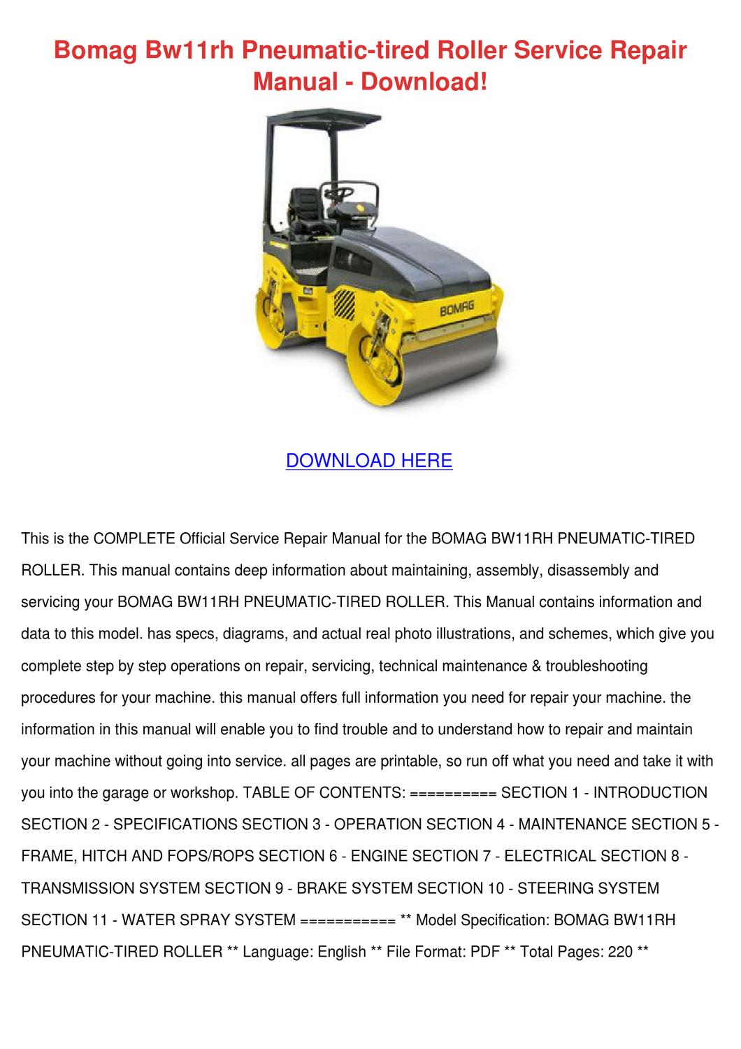 Bomag Bw11rh Pneumatic Tired Roller Service R by CharleneWinchester - issuu