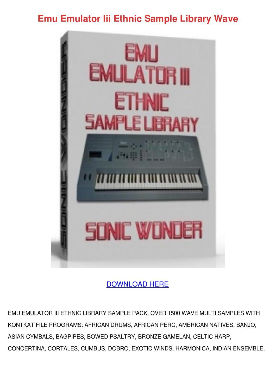Emu Emulator Iii Ethnic Sample Library Wave by MerrillMarx