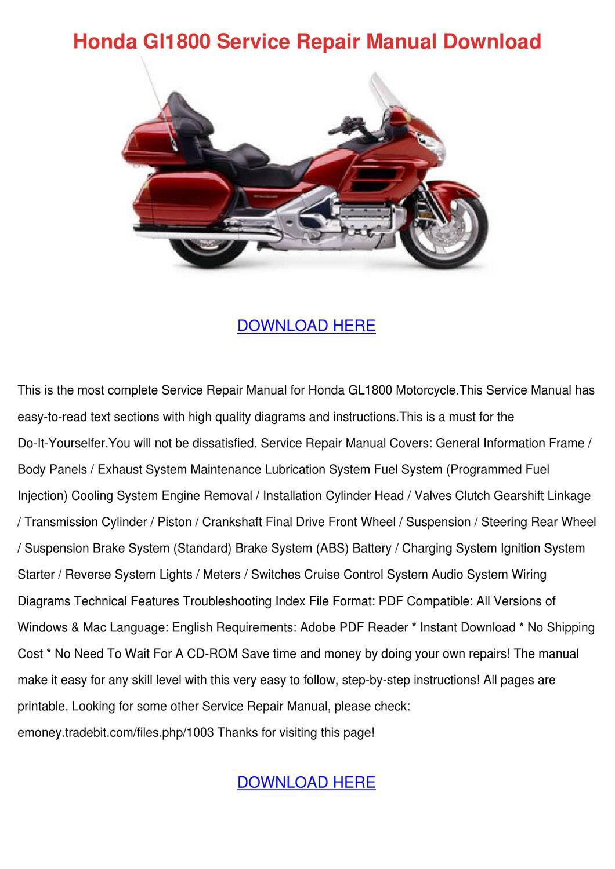 Honda Gl1800 Service Repair Manual Download by OnaNealy - issuu