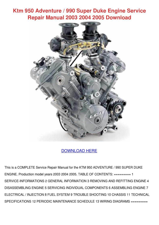 ktm 950 adventure 990 super duke engine servi by onanealy - issuu  issuu