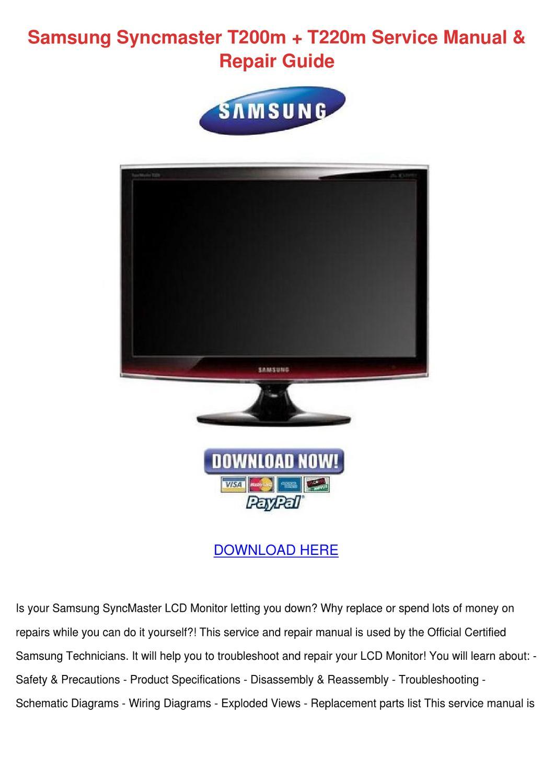 Samsung Syncmaster T200m T220m Service Manual By Sharronrivard Issuu Kreidler Wiring Diagram