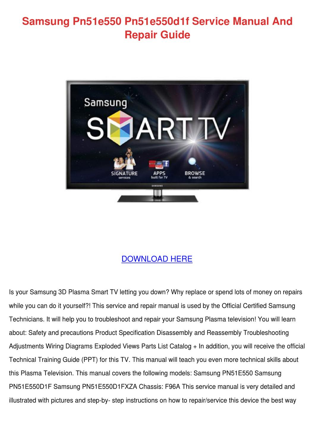 Samsung Pn51e550 Pn51e550d1f Service Manual A By Emiledemers Issuu Wiring Diagram For Smart Tv