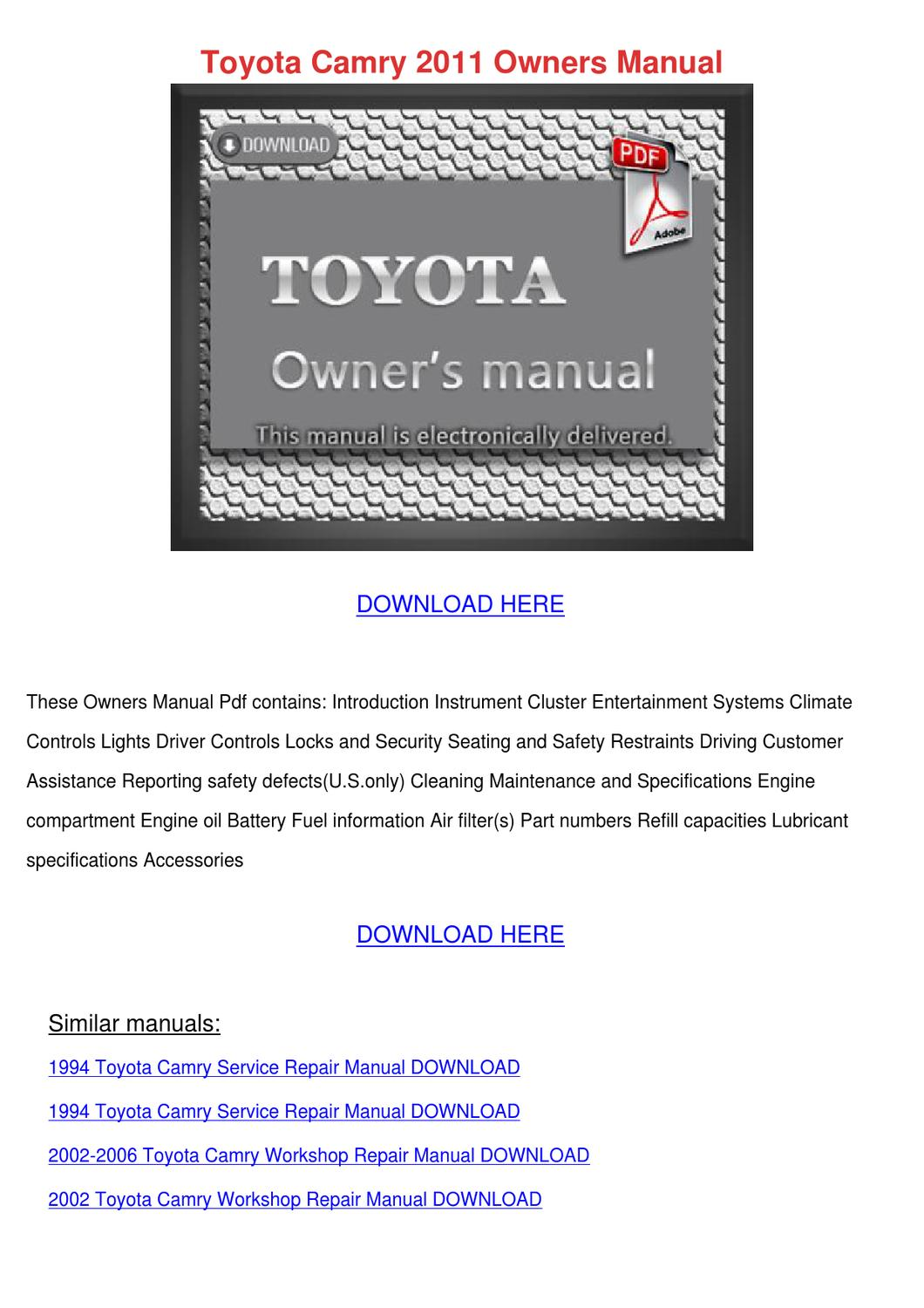 toyota camry 2011 owners manual by sharronrivard issuu. Black Bedroom Furniture Sets. Home Design Ideas