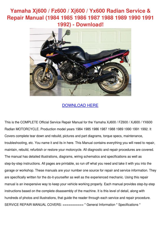 Yamaha Xj600 Fz600 Xj600 Yx600 Radian Service By