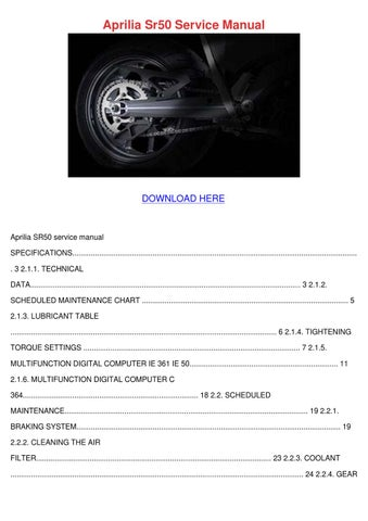 Aprilia Sr50 Service Manual By Rhondarasmussen Issuu