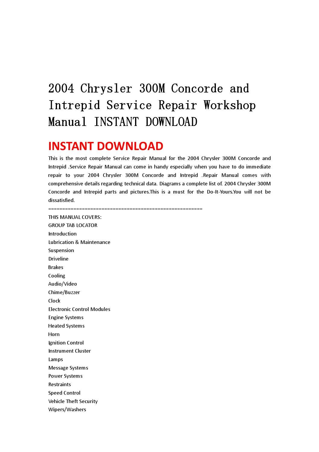 2004 chrysler 300m concorde and intrepid service repair workshop manual  instant download by hhsgefbseh - issuu