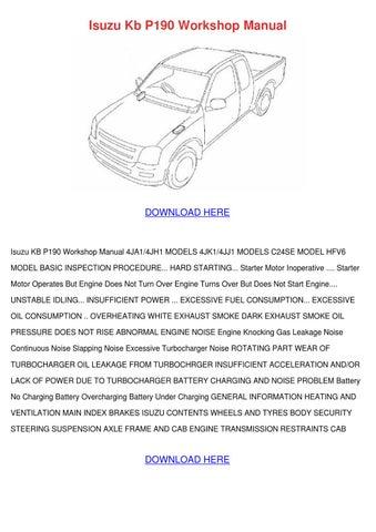 isuzu kb p190 workshop manual by laceykaiser issuu. Black Bedroom Furniture Sets. Home Design Ideas