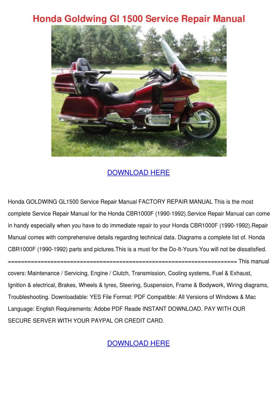 Honda Goldwing Gl 1500 Service Repair Manual By