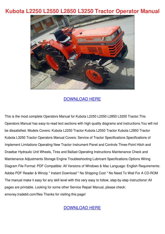 kubota tractor l2250 l2550 l2850 l3250 operators inst  manual guide kubota  manual