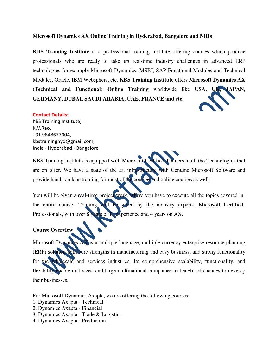 Microsoft Dynamics Ax Axapta Online Training And Corporate