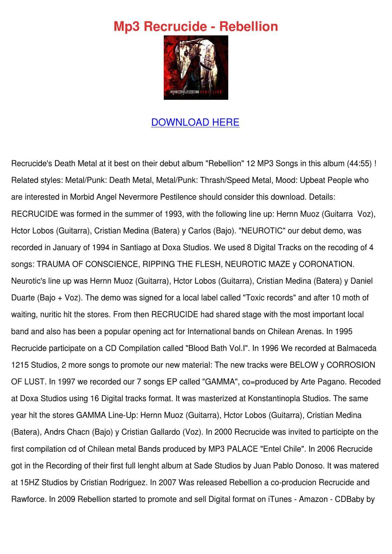 Mp3 Recrucide Rebellion by JohnetteHelms - issuu