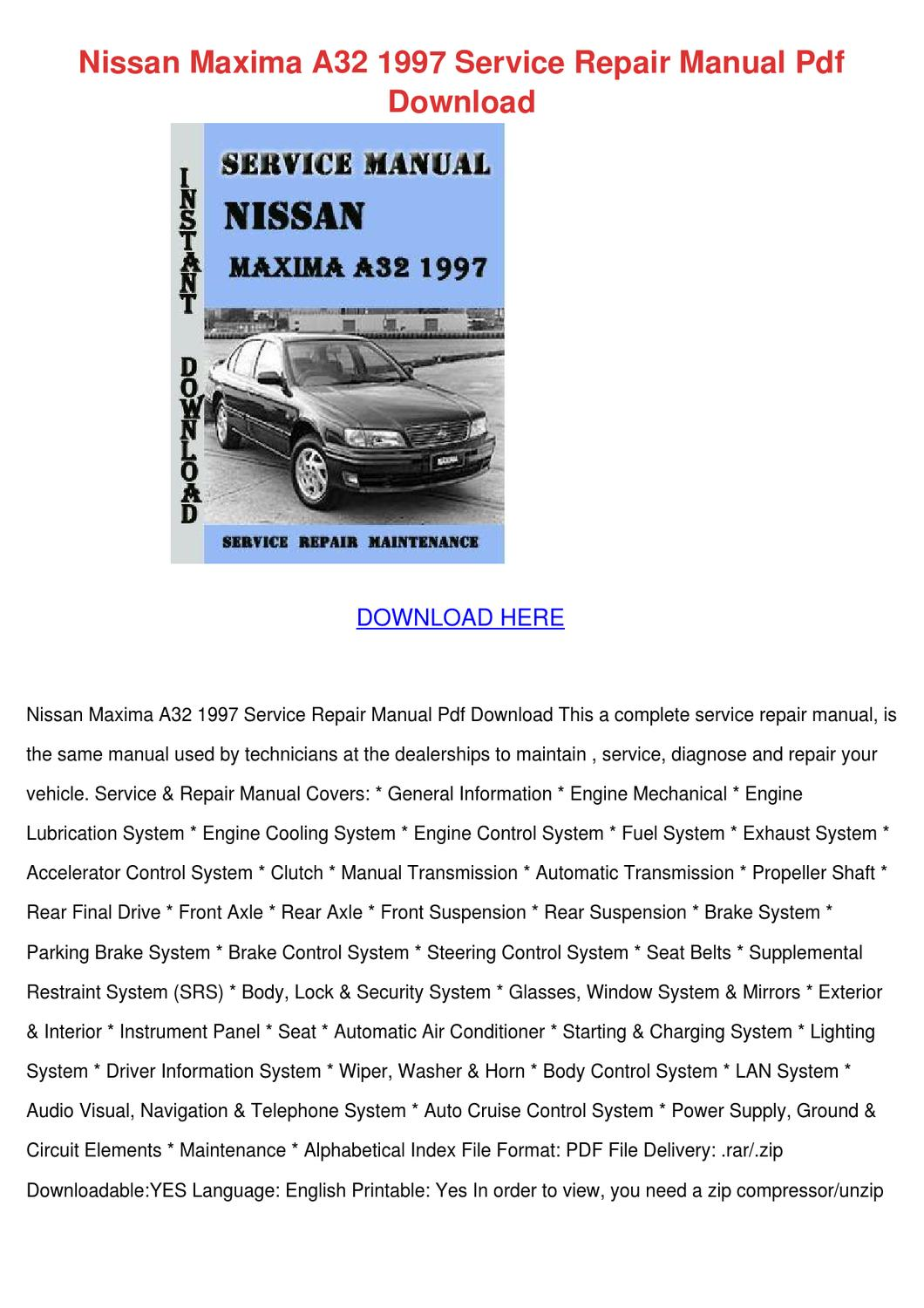 Nissan Maxima A32 1997 Service Repair Manual