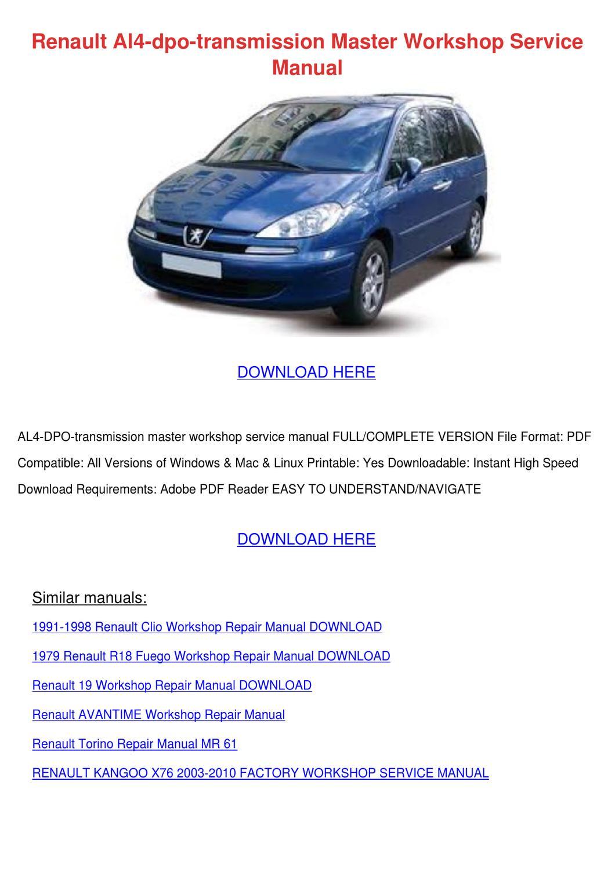 Renault Al4 Dpo Transmission Master Workshop by RudolphRobey - issuu