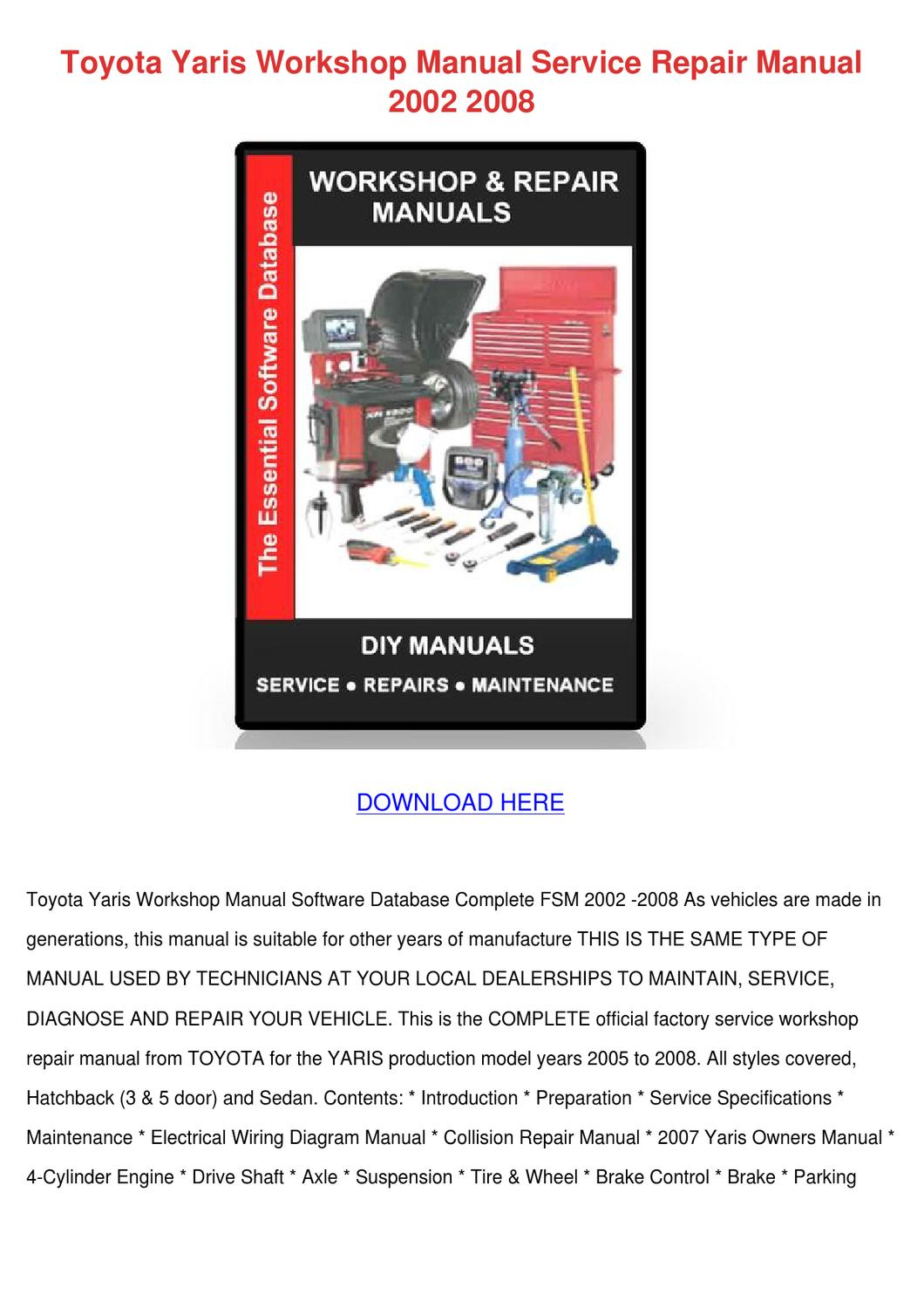 Toyota Yaris Workshop Manual Service Repair M By