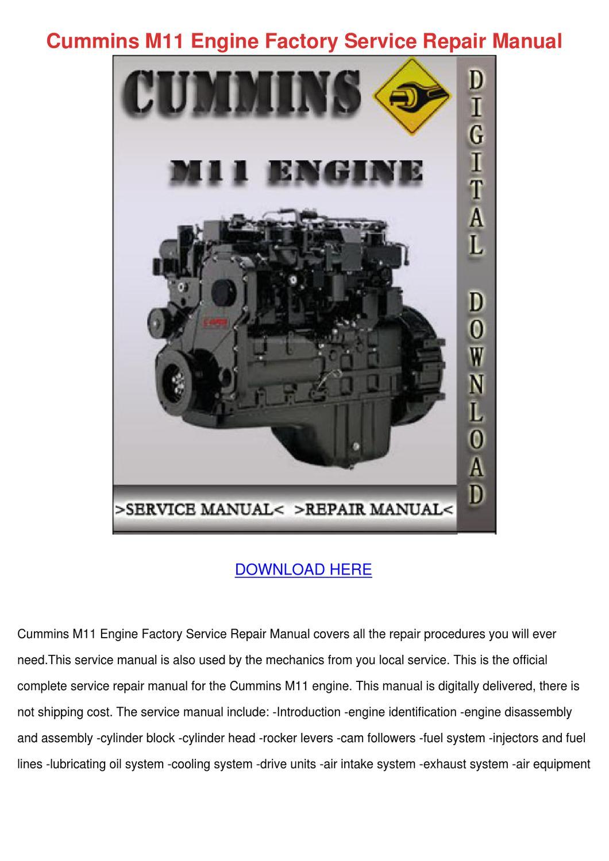 cummins m11 engine factory service repair man by eduardocoulter issuu