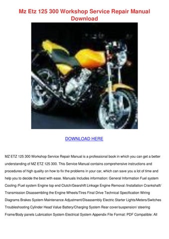 mz etz 125 150 workshop service repair manual