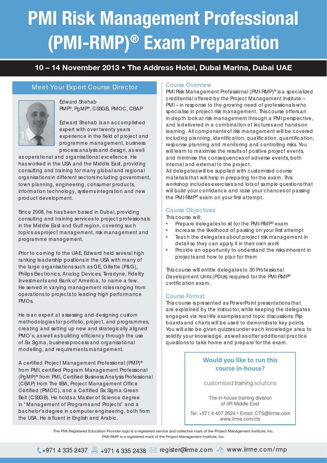 PMI Risk Management Professional PMI RMP® Exam Preparation by ...