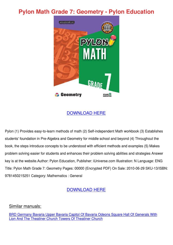 Pylon Math Grade 7 Geometry Pylon Education by LupeLouis ...