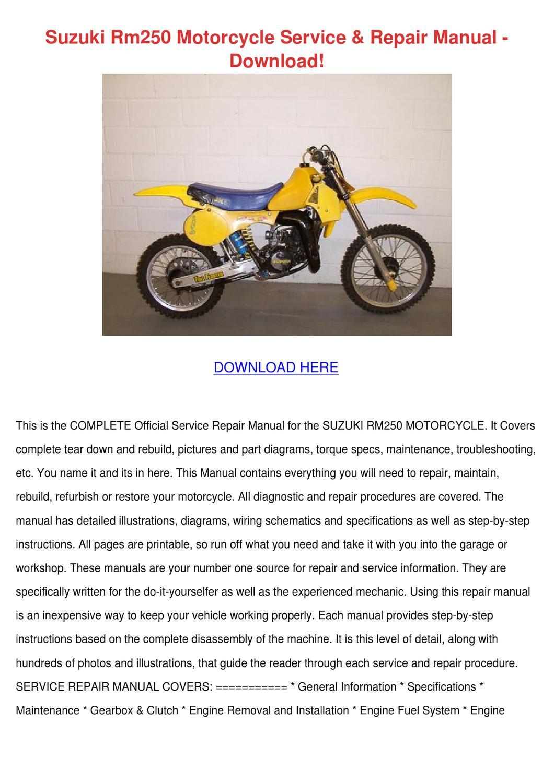Suzuki Rm250 Motorcycle Service Repair Manual by JanelleGuffey - issuu