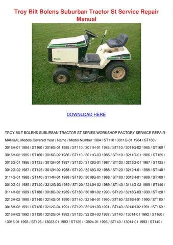 Troy Bilt Bolens Suburban Tractor St Service by
