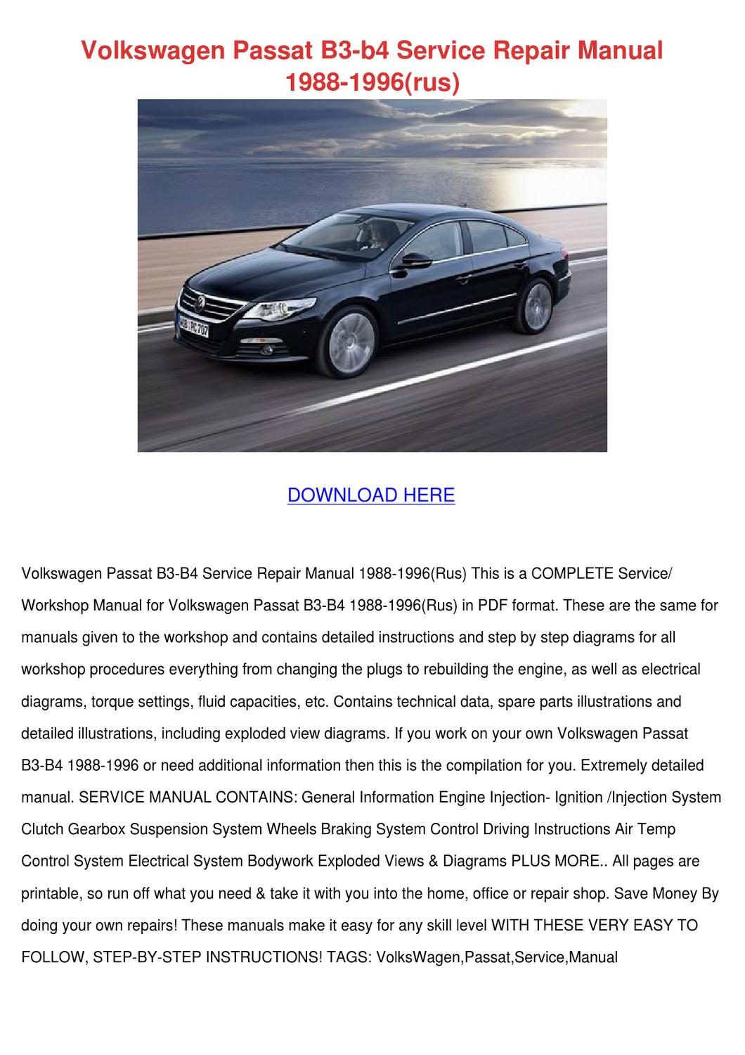 volkswagen passat b3 b4 service repair manual by mirtamcclintock issuu