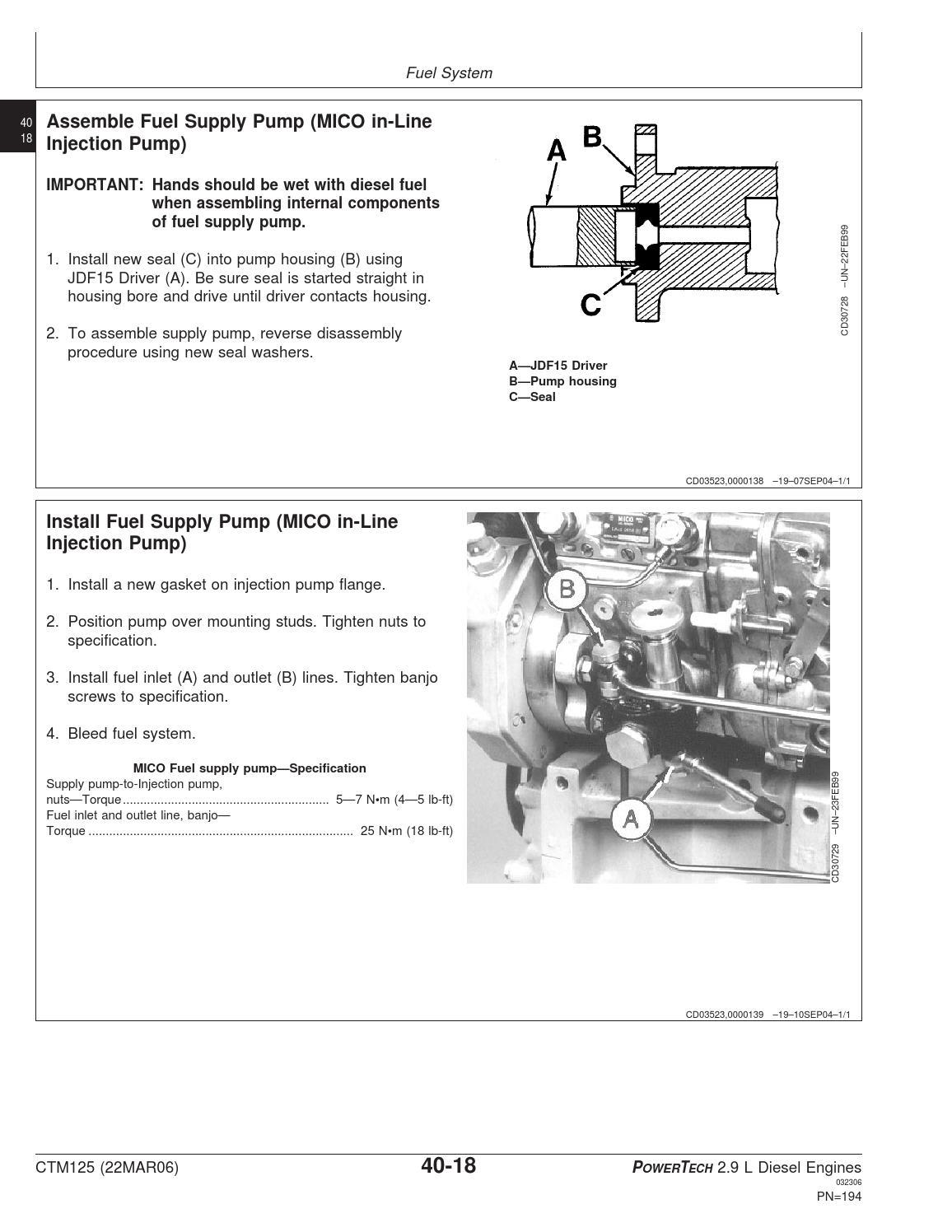 JOHN DEERE WORKSHOP MANUAL FOR ENGINE 3029 by Power