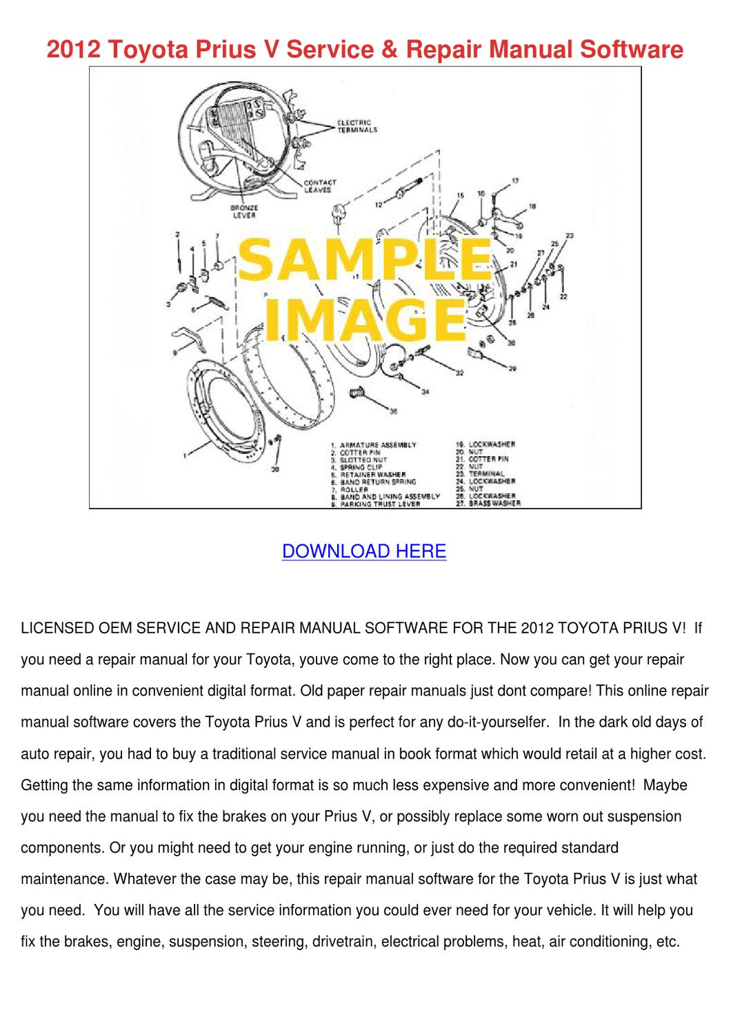 2012 Toyota Prius V Service Repair Manual Sof by AngeliaYount - issuu