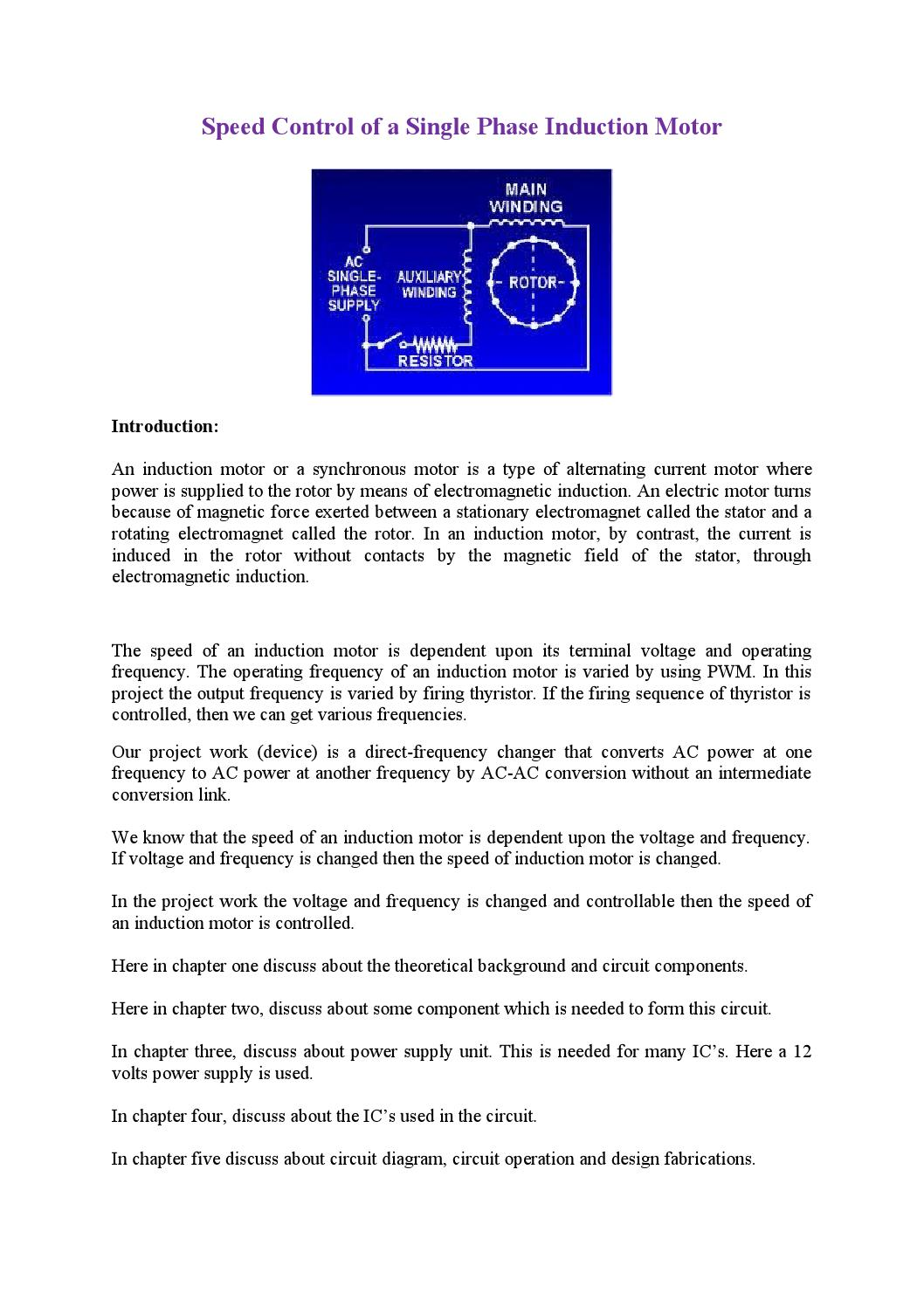 Speed Control Of A Single Phase Induction Motor By Md Papon Issuu Ac Circuit