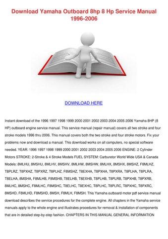 Download Yamaha Outboard 8hp 8 Hp Service Man