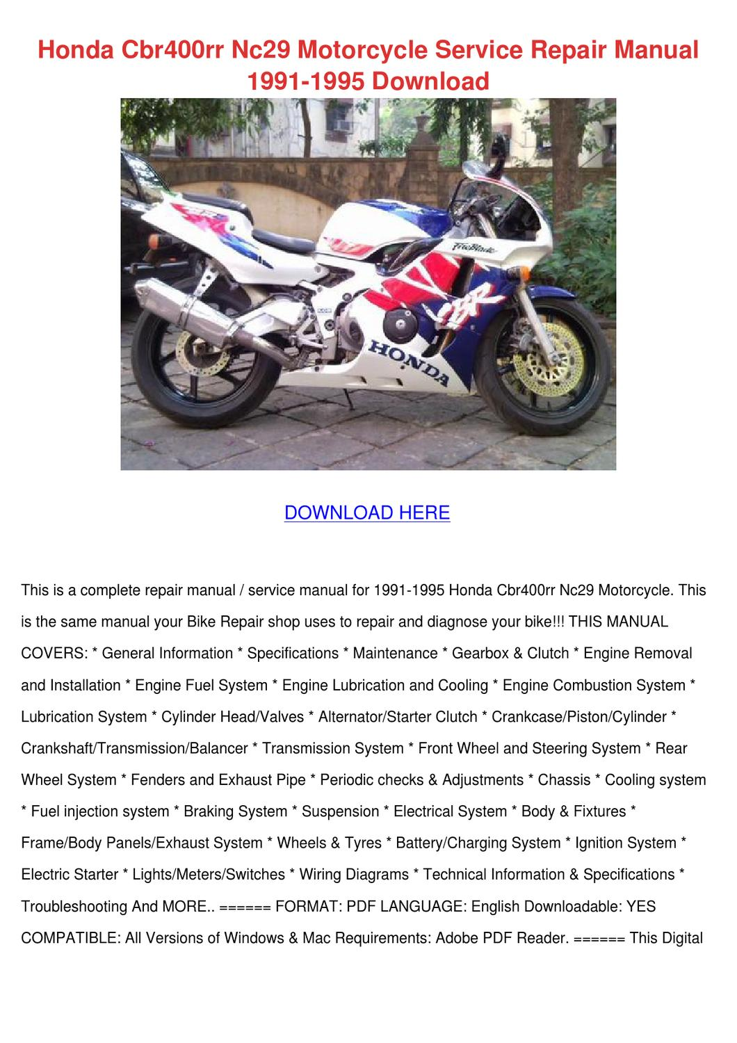 Honda Cbr400rr Nc29 Motorcycle Service Repair By