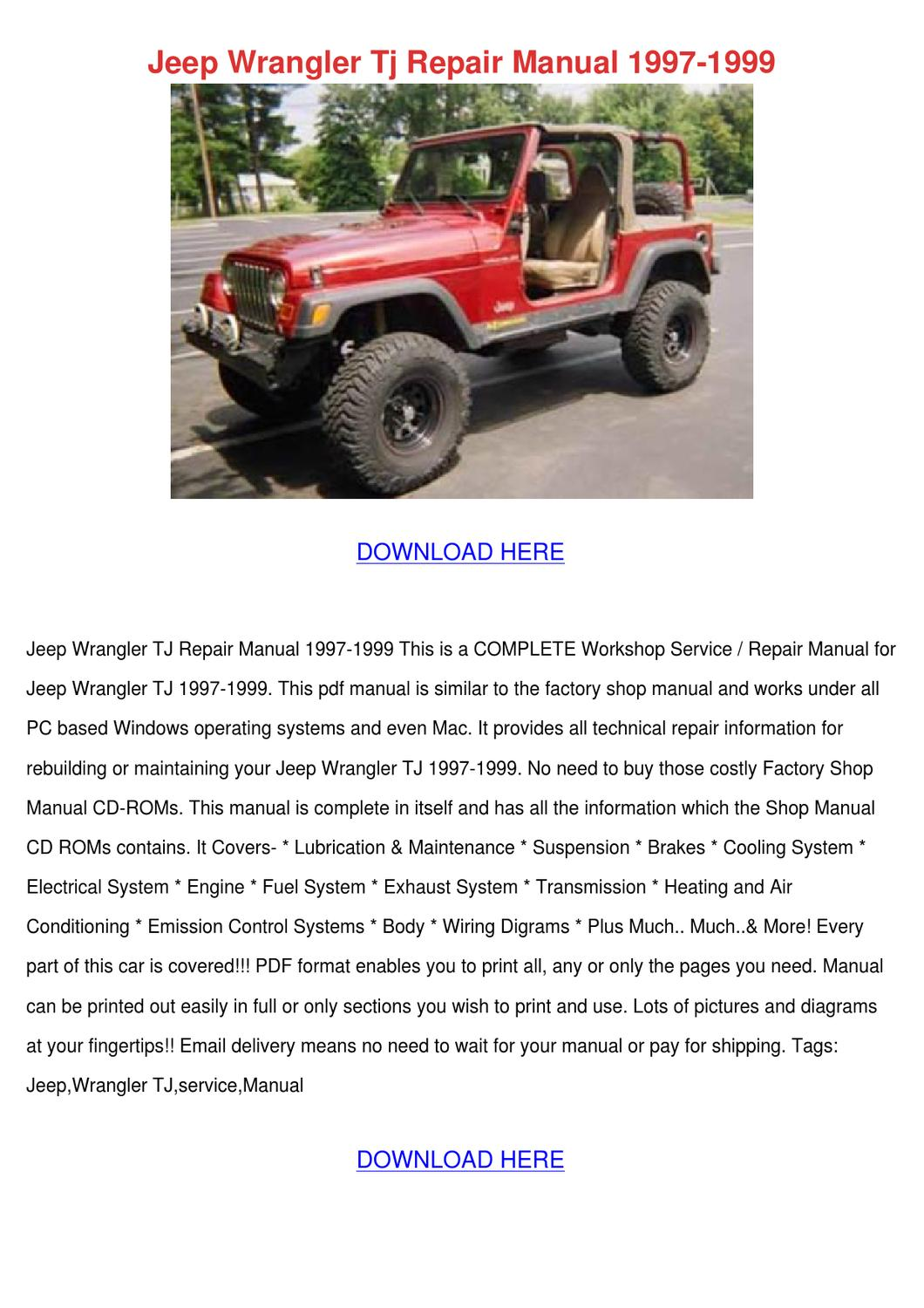 Jeep Wrangler Tj Repair Manual 1997 1999 By Frederickaeggleston Issuu Wiring Diagrams Sahara