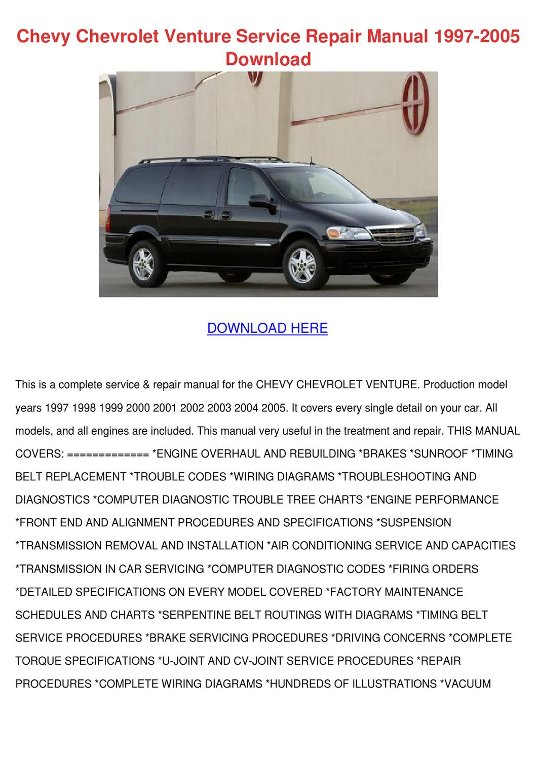 Chevy Chevrolet Venture Service Repair Manual By