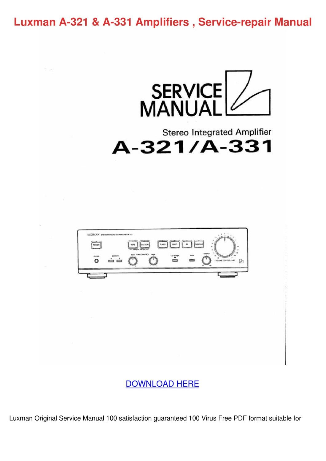 Luxman A 321 A 331 Amplifiers Service Repair by FrederickaEggleston - issuu