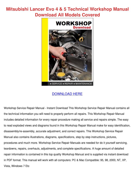 Mitsubishi Lancer Evo 4 5 Technical Workshop by FrederickaEggleston - issuu