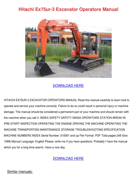 Hitachi Ex75ur 3 Excavator Operators Manual by JodyGoode - issuu